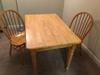 Dining table with two matching chairs, good condition