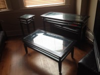 3 piece glass table top set (black)