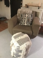 Large Oversized Grey Chair and Puff Ottoman Combo (pillow included free)
