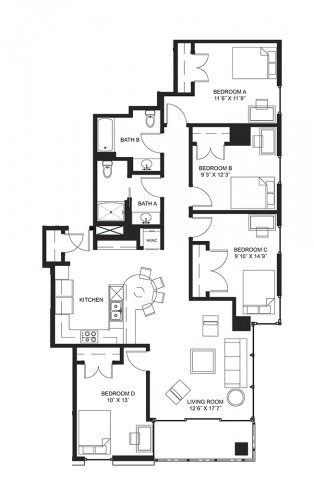 Spring Sublet for Shared Bedroom at Lucky Apartments - Reduced Price