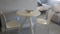 West Elm Tripod Table + 2 Scoop back chairs