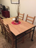 Almost new IKEA industrial plank wood 5-piece dining set