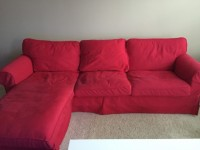 Ikea Ektorp Loveseat and Chaise (Red)
