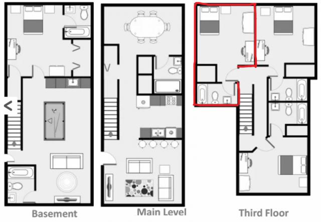 Private Bedroom/Bathroom in Quiet Townhouse Village