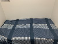 Twin size mattress with box spring and bed frame